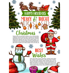 christmas holidays sketch greeting card vector image