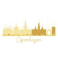 Copenhagen city skyline golden silhouette vector