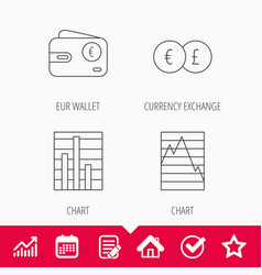Currency exchange chart and euro wallet icons vector