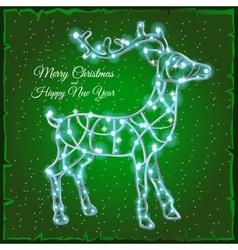 Deer of garlands on a green background vector image vector image