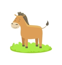 Donkey farm animal cartoon farm related element on vector