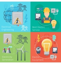 Electricity energy concepts set vector image vector image