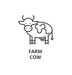 Farm cow line icon outline sign linear symbol vector