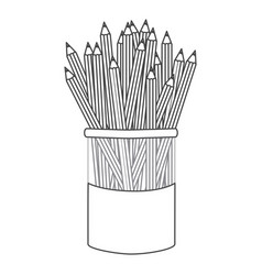 Figure pencils color inside the butter jar icon vector