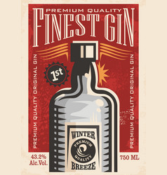 Finest gin retro poster ad with gin bottle on old vector