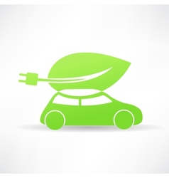 Green eco car icon vector
