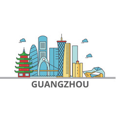 guangzhou city skyline buildings streets vector image
