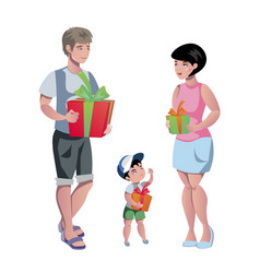 happy family at christmas with gifts vector image