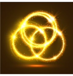 Luminous sparkling circles of golden light flashes vector image