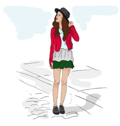 Model fashion sketch vector image