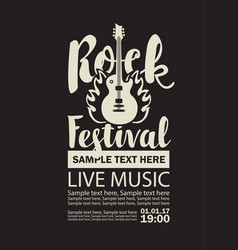 Poster for a rock festival with guitar on fire vector
