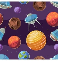 Seamless space kids pattern with planets vector