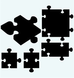 Set puzzles jigsaw icon vector