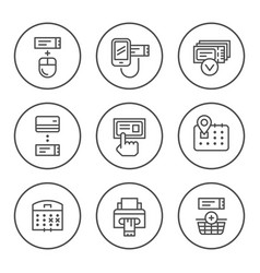 set round line icons of booking tickets vector image vector image