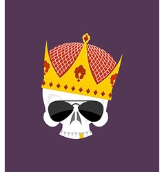 Skull Crown White head skeleton in Sun points and vector image vector image