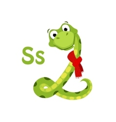 Snake funny alphabet animal vector