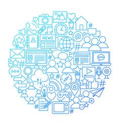 Social media line icon circle design vector