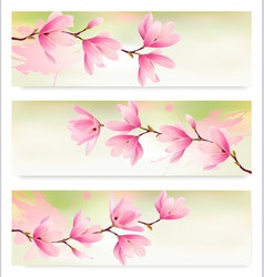 Three Spring banners with blossom brunch of pink vector image vector image