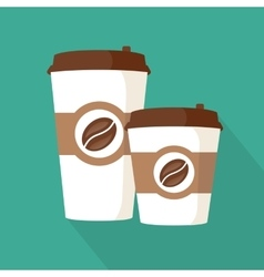 Two coffee to go paper cups icon vector