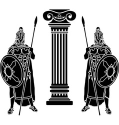 two hoplits and column stencil vector image