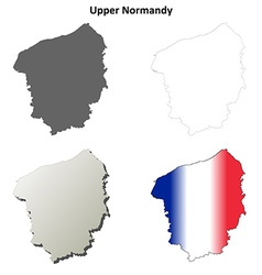 Upper normandy blank outline map set vector