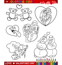 valentine cartoon themes for coloring vector image vector image