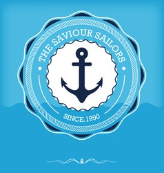 Vintage nautical anchor with label vector