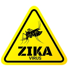 Warning sign of zika virus with mosquitoes vector