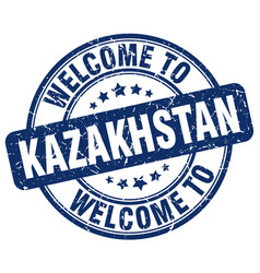 Welcome to kazakhstan blue round vintage stamp vector