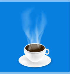 white cup of black natural coffee vector image