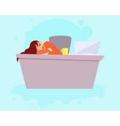 Woman sleeping on work vector
