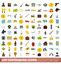 100 contraband icons set flat style vector