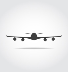 Front plane black icon vector