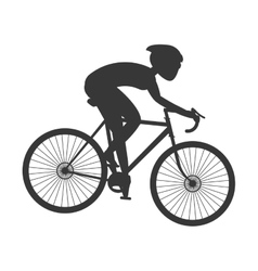 Silhouette person riding bike with helmet icon vector