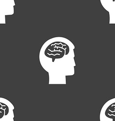 Brain sign Seamless pattern on a gray background vector image
