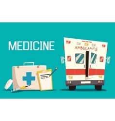 First aid kit and ambulance car syringe pill vector
