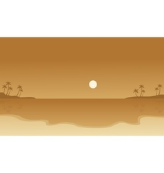 Silhouette of beach landscape collection vector