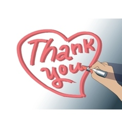 Thank you sign woman hand draw heart vector image