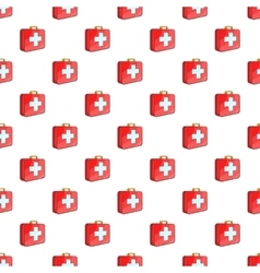 First aid kit pattern cartoon style vector