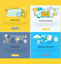 Social media analysis and design progress strategy vector