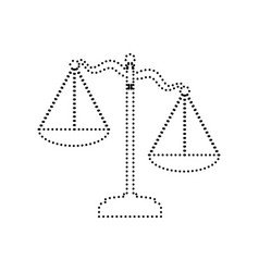 Scales of justice sign  black dotted icon vector
