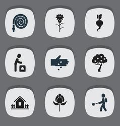 set of 9 editable garden icons includes symbols vector image