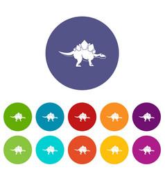 Brachiosaurus dinosaur icons set flat vector