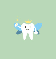 Cute healthy white teeth is tooth fairy vector