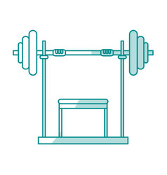 Blue silhouette shading weight lifting machine vector
