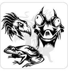 Set - aggressive creatures vector