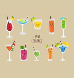 set of funny cocktails colorful drinks in vector image