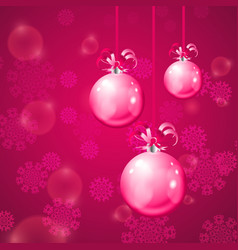 Christmas balls on pink background with snowflakes vector