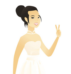 Young asian fiancee showing the victory gesture vector