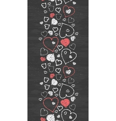 Chalkboard art hearts vertical border seamless vector